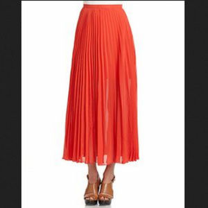 New Red Orange Maxi Pleated Skirt